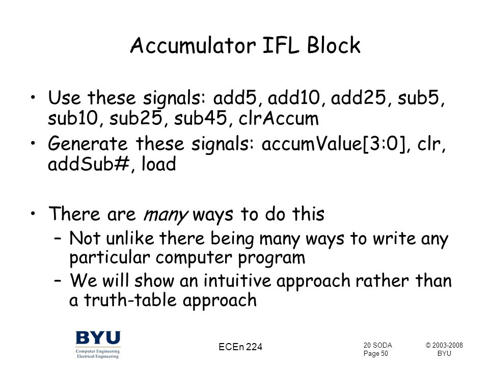 © 2003-2008 BYU 20 SODA Page 50 ECEn 224 Accumulator IFL Block Use these signals: add5, add10, add25, sub5, sub10, sub25, sub45, clrAccum Generate these signals: accumValue[3:0], clr, addSub#, load There are many ways to do this –Not unlike there being many ways to write any particular computer program –We will show an intuitive approach rather than a truth-table approach