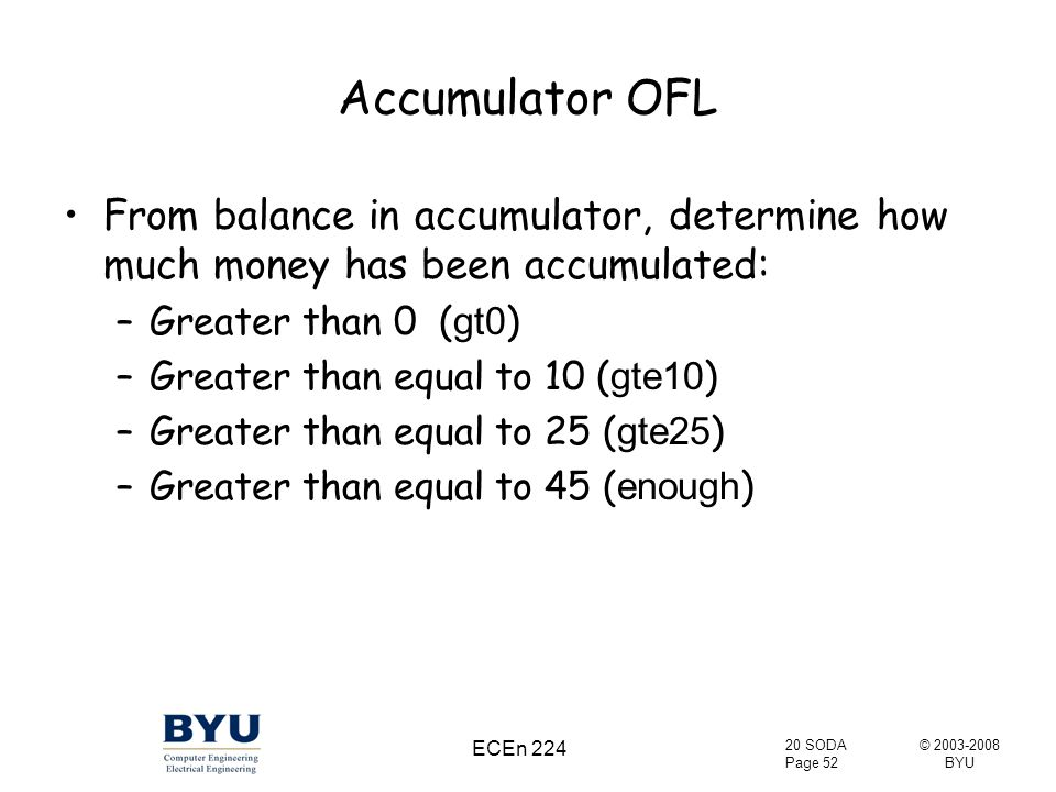 © 2003-2008 BYU 20 SODA Page 52 ECEn 224 Accumulator OFL From balance in accumulator, determine how much money has been accumulated: –Greater than 0 ( gt0 ) –Greater than equal to 10 ( gte10 ) –Greater than equal to 25 ( gte25 ) –Greater than equal to 45 ( enough )