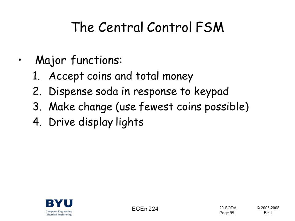 © 2003-2008 BYU 20 SODA Page 55 ECEn 224 The Central Control FSM Major functions: 1.Accept coins and total money 2.Dispense soda in response to keypad 3.Make change (use fewest coins possible) 4.Drive display lights