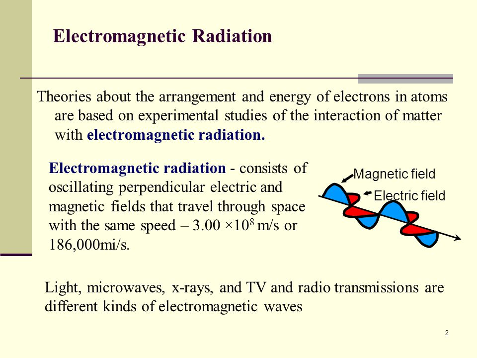 2 Electromagnetic Radiation Theories about the arrangement and energy of electrons in atoms are based on experimental studies of the interaction of ma