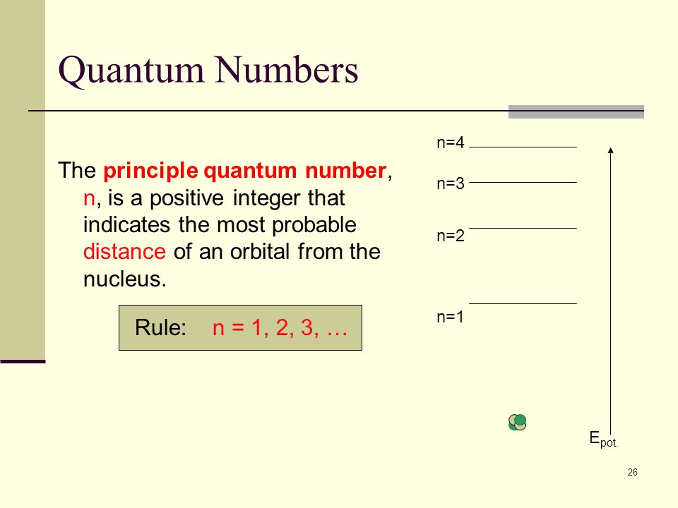 26 Quantum Numbers The principle quantum number, n, is a positive integer that indicates the most probable distance of an orbital from the nucleus. Ru