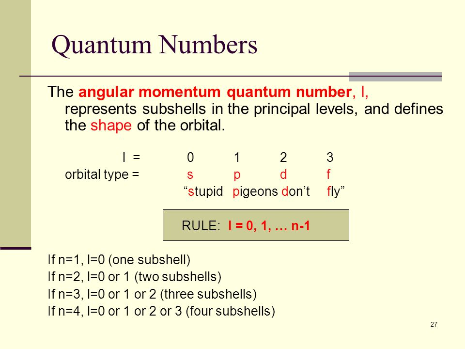 27 Quantum Numbers The angular momentum quantum number, l, represents subshells in the principal levels, and defines the shape of the orbital. l = 012