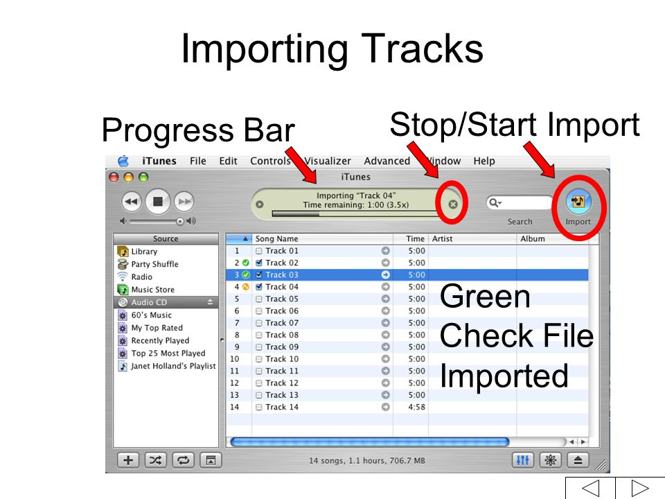 Importing Tracks Green Check File Imported Stop/Start Import Progress Bar