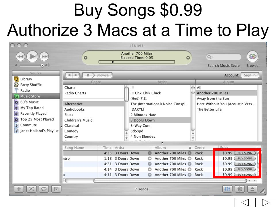 Buy Songs $0.99 Authorize 3 Macs at a Time to Play