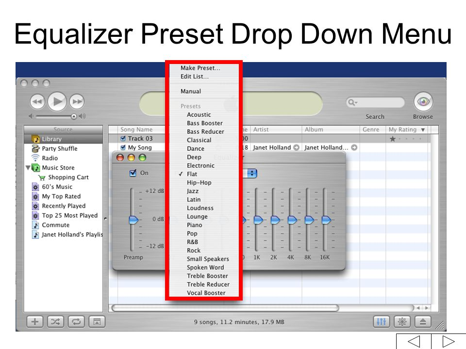 Equalizer Preset Drop Down Menu