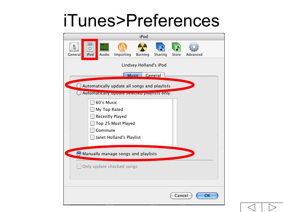 iTunes>Preferences