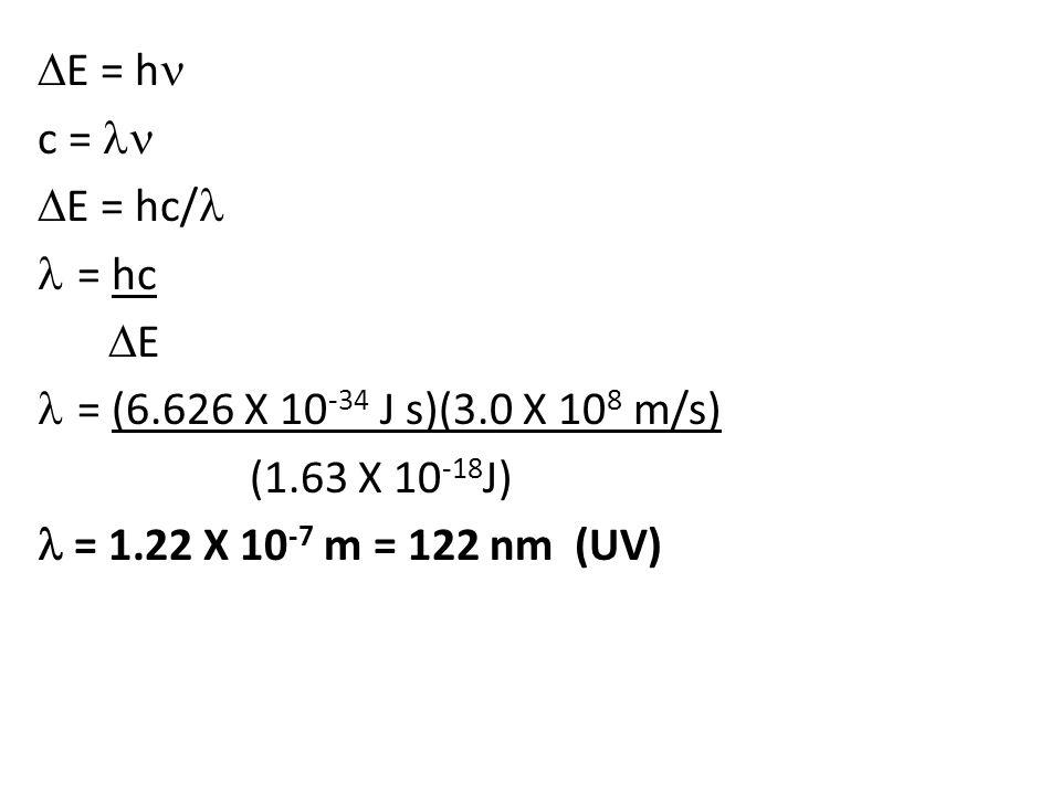 E = h c =  E = hc/ = hc  E = (6.626 X 10 -34 J s)(3.0 X 10 8 m/s) (1.63 X 10 -18 J) = 1.22 X 10 -7 m = 122 nm (UV)