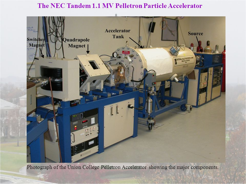 Photograph of the Union College Pelletron Accelerator showing the major components.