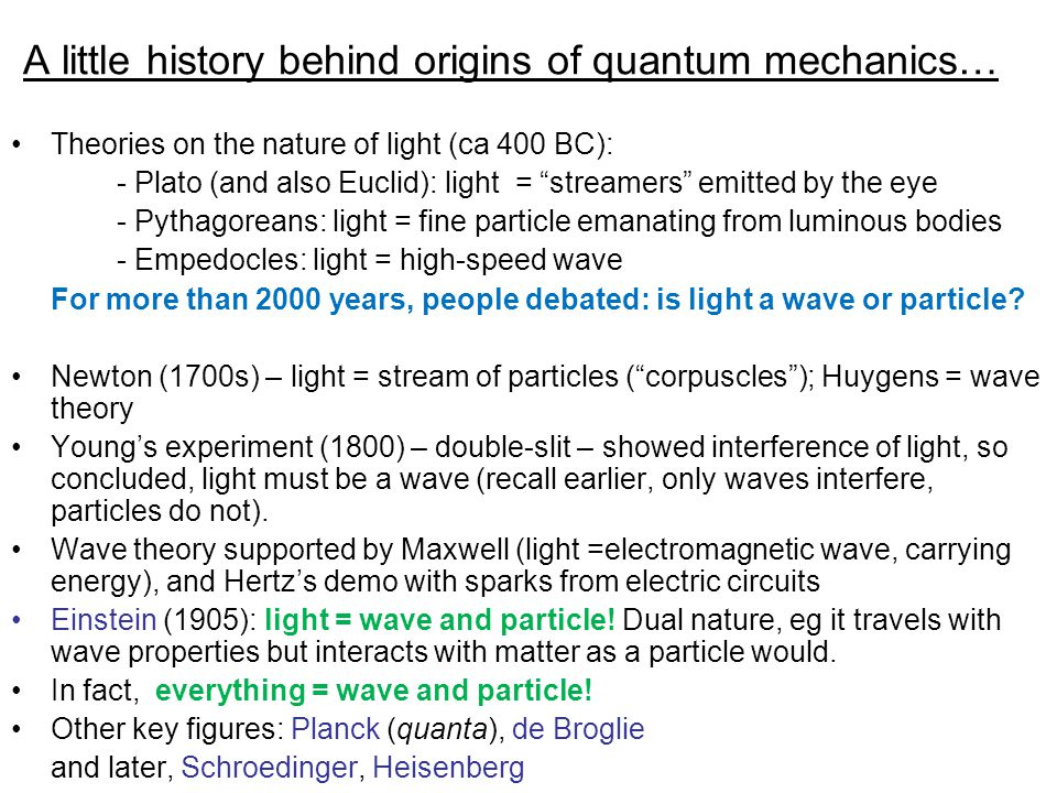 """A little history behind origins of quantum mechanics… Theories on the nature of light (ca 400 BC): - Plato (and also Euclid): light = """"streamers"""" emit"""