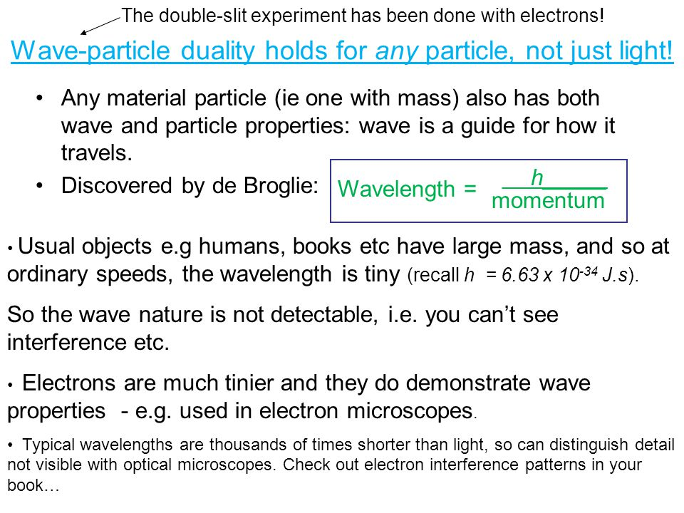 Wave-particle duality holds for any particle, not just light! Any material particle (ie one with mass) also has both wave and particle properties: wav