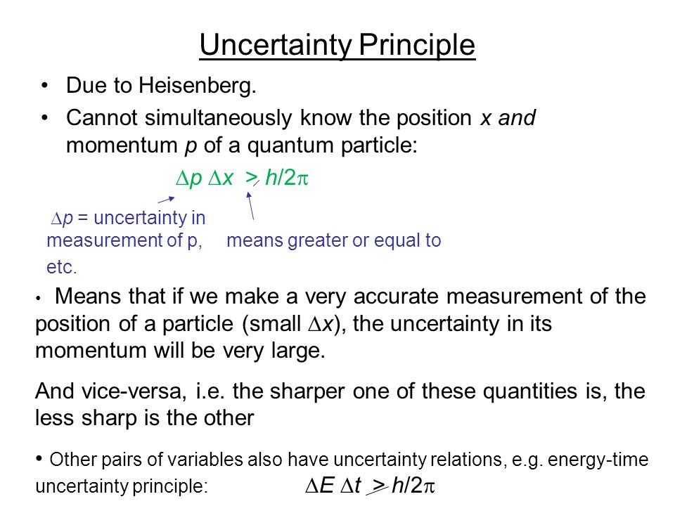 Uncertainty Principle Due to Heisenberg. Cannot simultaneously know the position x and momentum p of a quantum particle:  p  x > h/2   p = uncerta