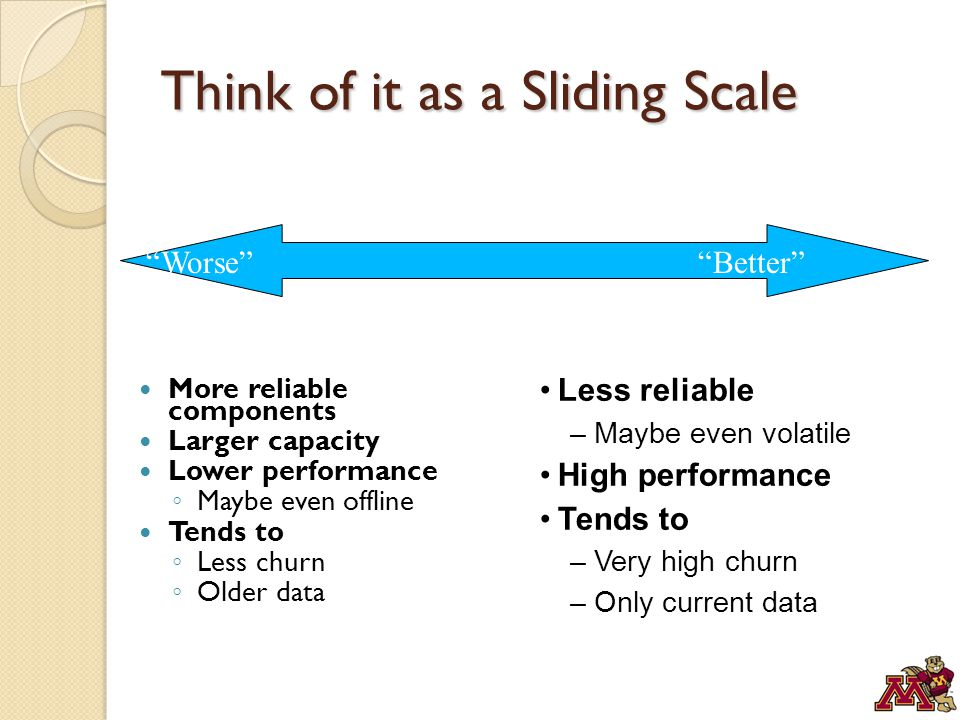 Think of it as a Sliding Scale More reliable components Larger capacity Lower performance ◦ Maybe even offline Tends to ◦ Less churn ◦ Older data Less reliable –Maybe even volatile High performance Tends to –Very high churn –Only current data Worse Better
