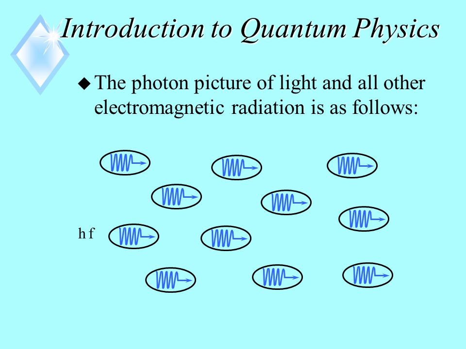 Introduction to Quantum Physics u In the late 1800's, experiments showed that light incident on metallic surfaces can sometimes cause electrons to be emitted from the metal.