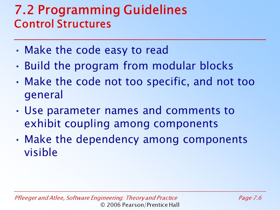 Pfleeger and Atlee, Software Engineering: Theory and PracticePage 7.17 © 2006 Pearson/Prentice Hall 7.2 Programming Guidelines Example of Pseudocode (continued) Final pseudocode INITIAL: Get parameter for indent, skip_line, margin.