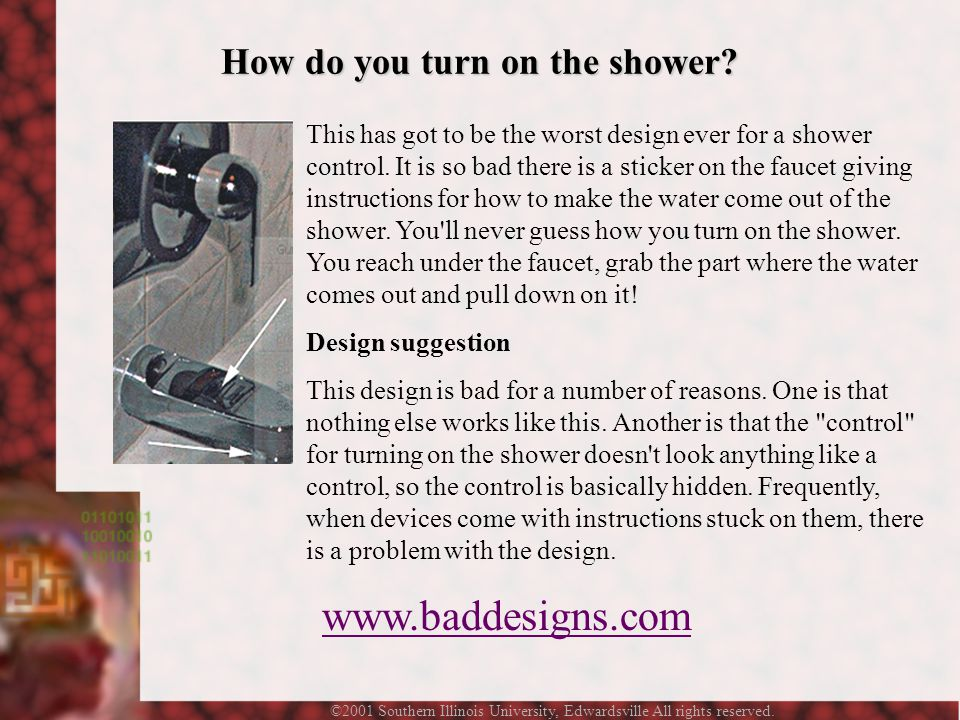 ©2001 Southern Illinois University, Edwardsville All rights reserved. This has got to be the worst design ever for a shower control. It is so bad ther