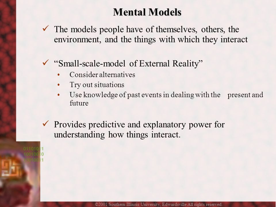 ©2001 Southern Illinois University, Edwardsville All rights reserved. Mental Models The models people have of themselves, others, the environment, and