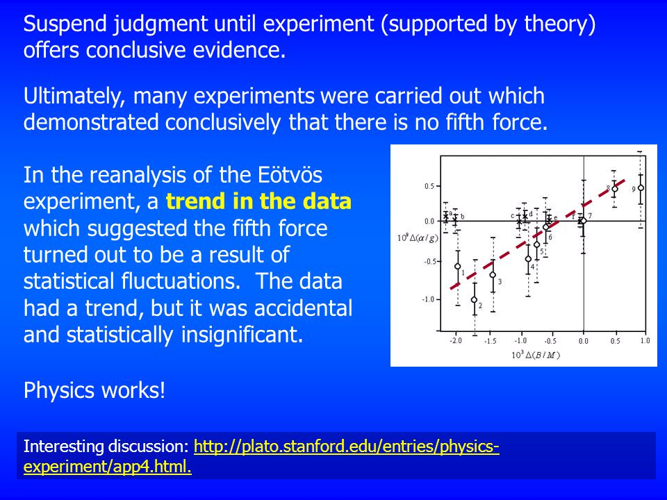 Suspend judgment until experiment (supported by theory) offers conclusive evidence.