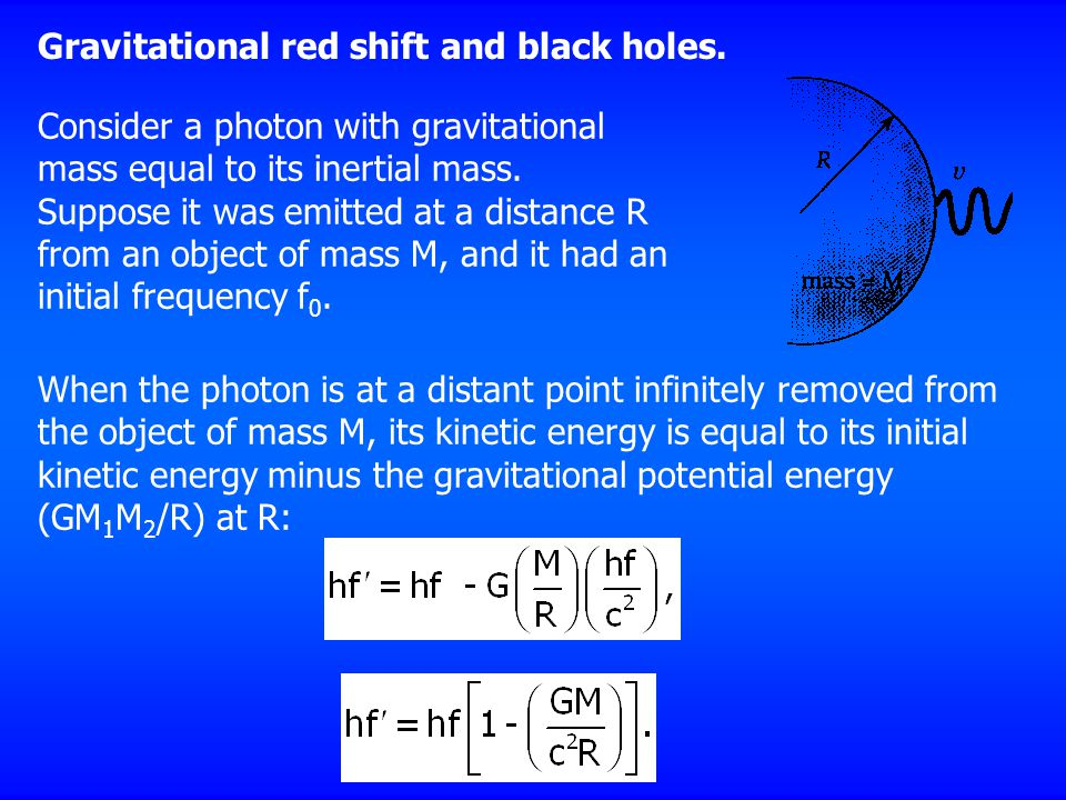 Gravitational red shift and black holes.