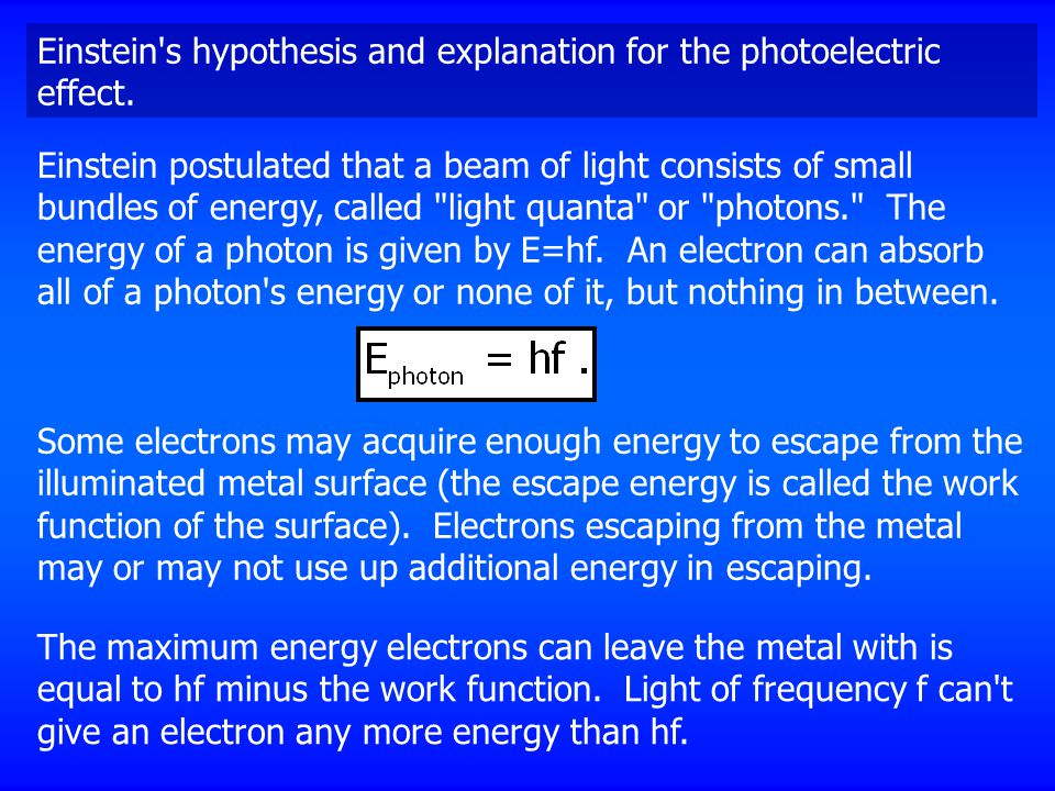 Einstein s hypothesis and explanation for the photoelectric effect.