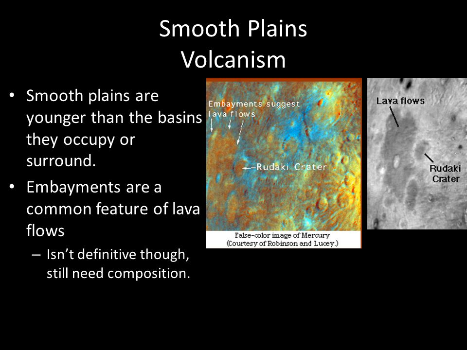 Smooth Plains Volcanism Smooth plains are younger than the basins they occupy or surround. Embayments are a common feature of lava flows – Isn't defin
