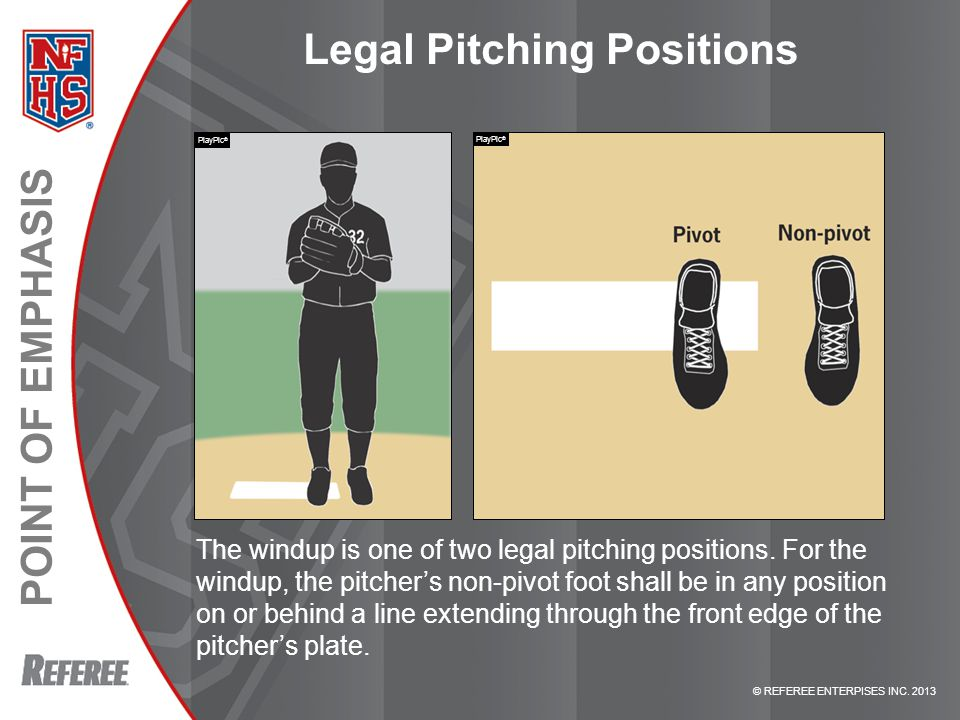 © REFEREE ENTERPISES INC. 2013 POINT OF EMPHASIS Legal Pitching Positions The windup is one of two legal pitching positions. For the windup, the pitch