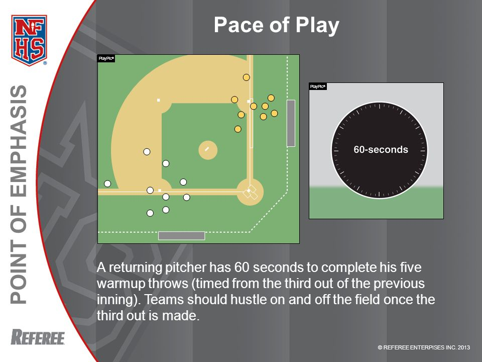 © REFEREE ENTERPISES INC. 2013 POINT OF EMPHASIS Pace of Play A returning pitcher has 60 seconds to complete his five warmup throws (timed from the th