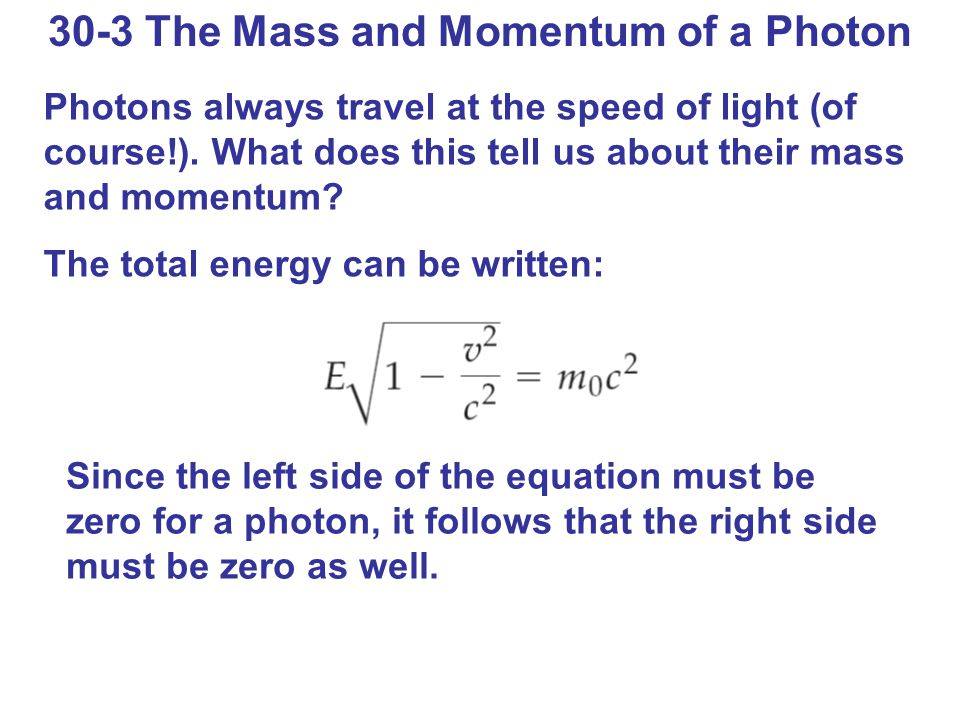 30-3 The Mass and Momentum of a Photon Photons always travel at the speed of light (of course!).