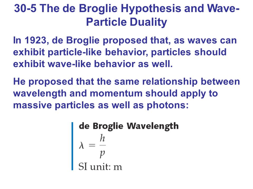 30-5 The de Broglie Hypothesis and Wave- Particle Duality In 1923, de Broglie proposed that, as waves can exhibit particle-like behavior, particles sh