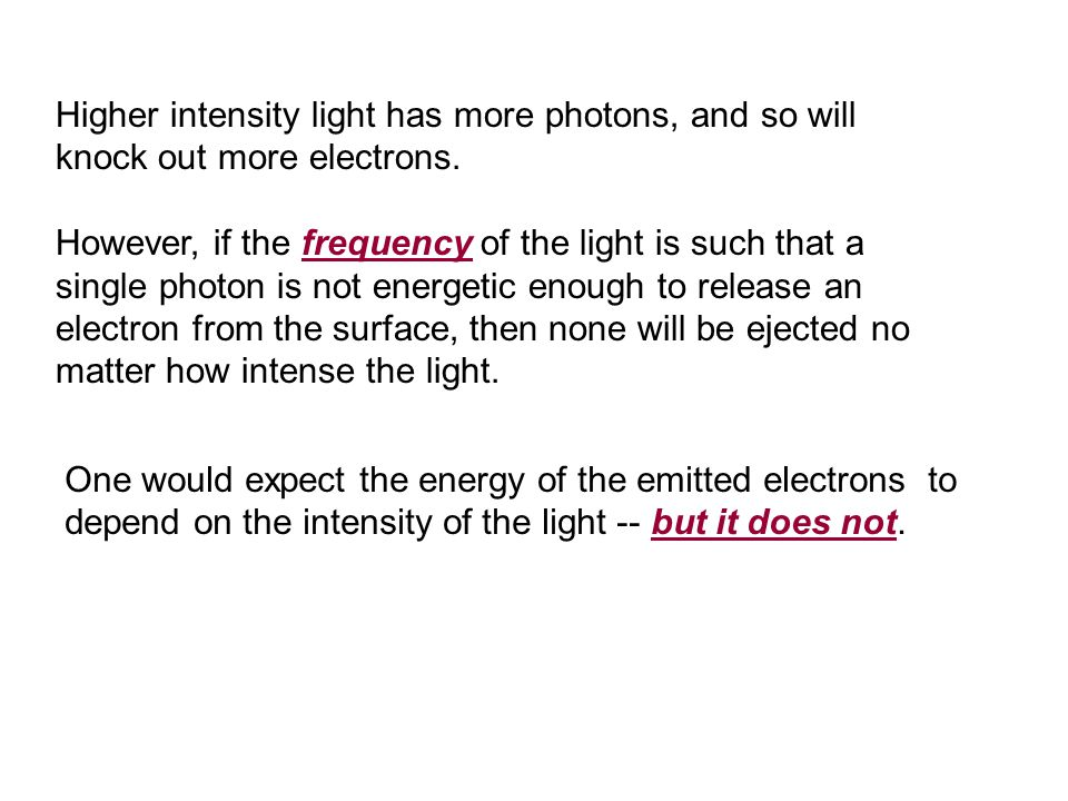 Higher intensity light has more photons, and so will knock out more electrons.