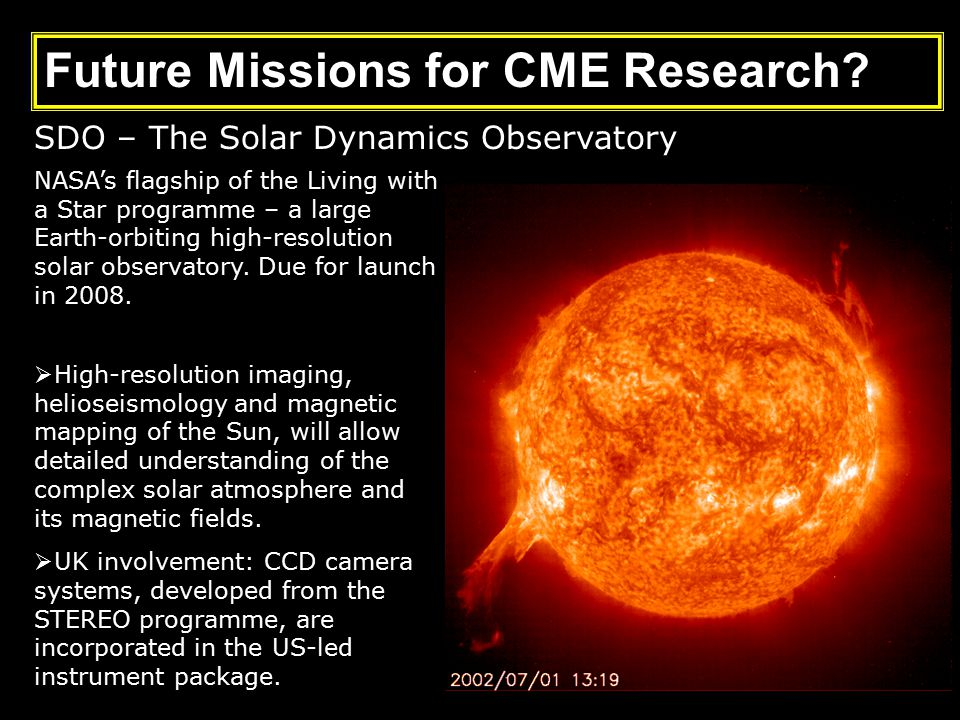 SDO – The Solar Dynamics Observatory NASA's flagship of the Living with a Star programme – a large Earth-orbiting high-resolution solar observatory.