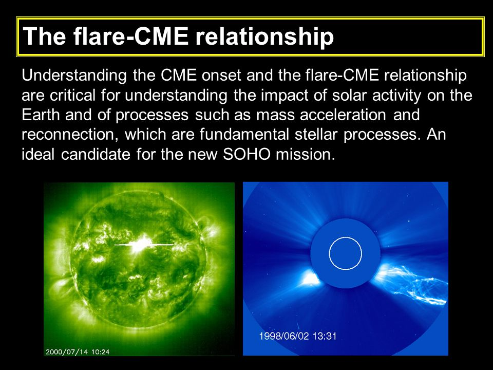 Understanding the CME onset and the flare-CME relationship are critical for understanding the impact of solar activity on the Earth and of processes such as mass acceleration and reconnection, which are fundamental stellar processes.