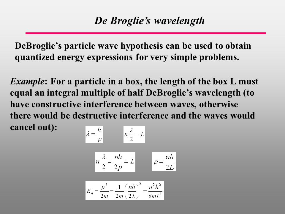 De Broglie's wavelength DeBroglie's particle wave hypothesis can be used to obtain quantized energy expressions for very simple problems.
