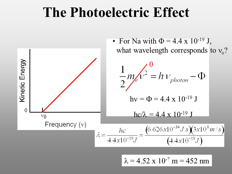 The Photoelectric Effect For Na with  = 4.4 x 10 -19 J, what wavelength corresponds to o .