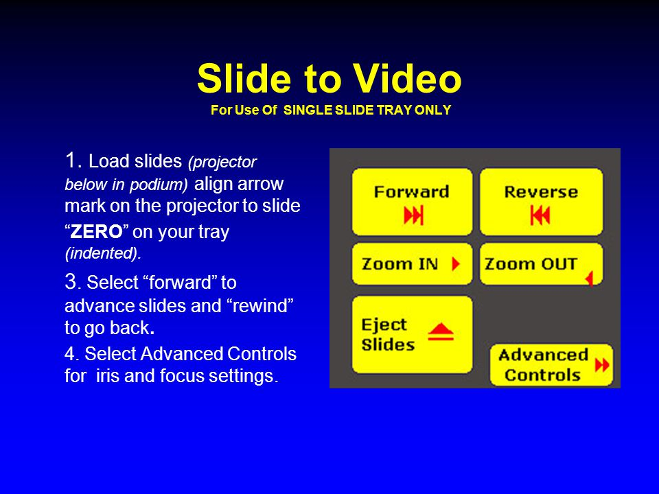 "Slide to Video For Use Of SINGLE SLIDE TRAY ONLY 1. Load slides (projector below in podium) align arrow mark on the projector to slide ""ZERO"" on your"