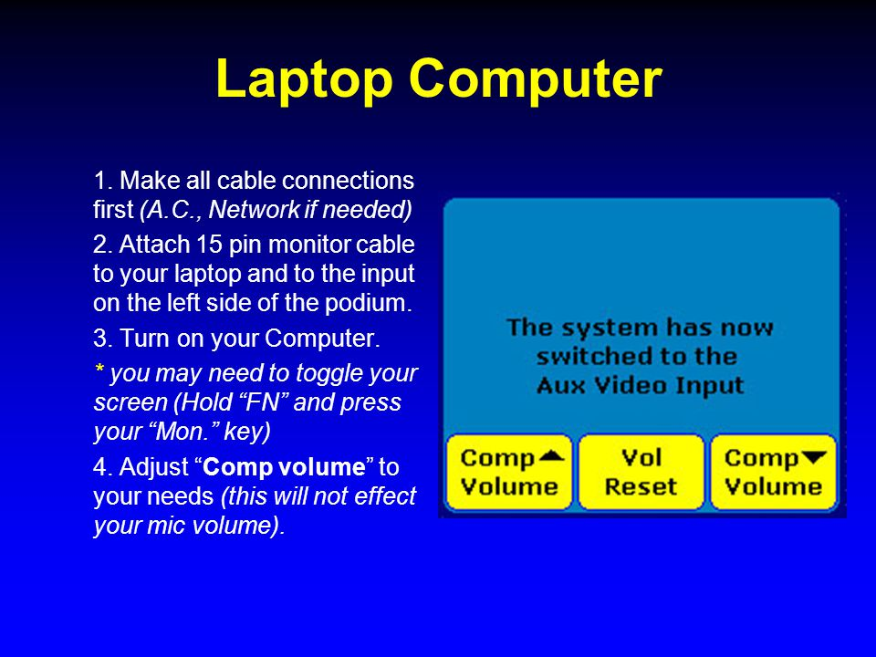 Laptop Computer 1. Make all cable connections first (A.C., Network if needed) 2.