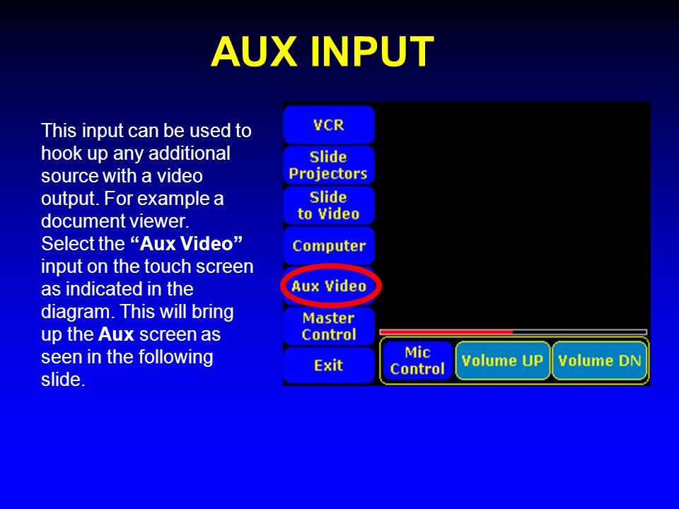 AUX INPUT This input can be used to hook up any additional source with a video output.
