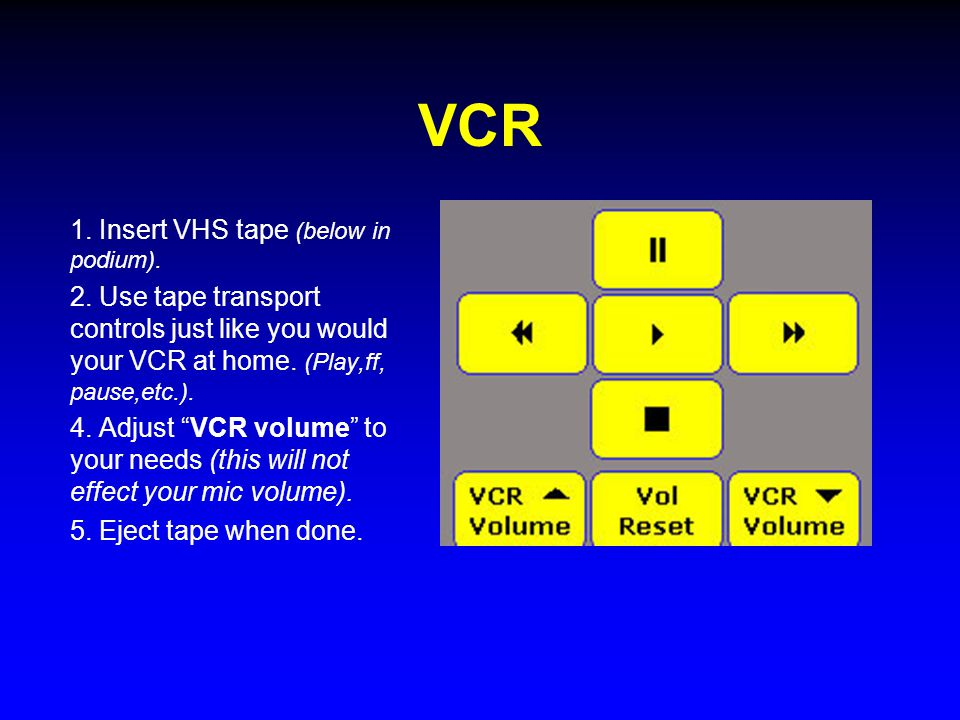 "VCR 1. Insert VHS tape (below in podium). 2. Use tape transport controls just like you would your VCR at home. (Play,ff, pause,etc.). 4. Adjust ""VCR v"