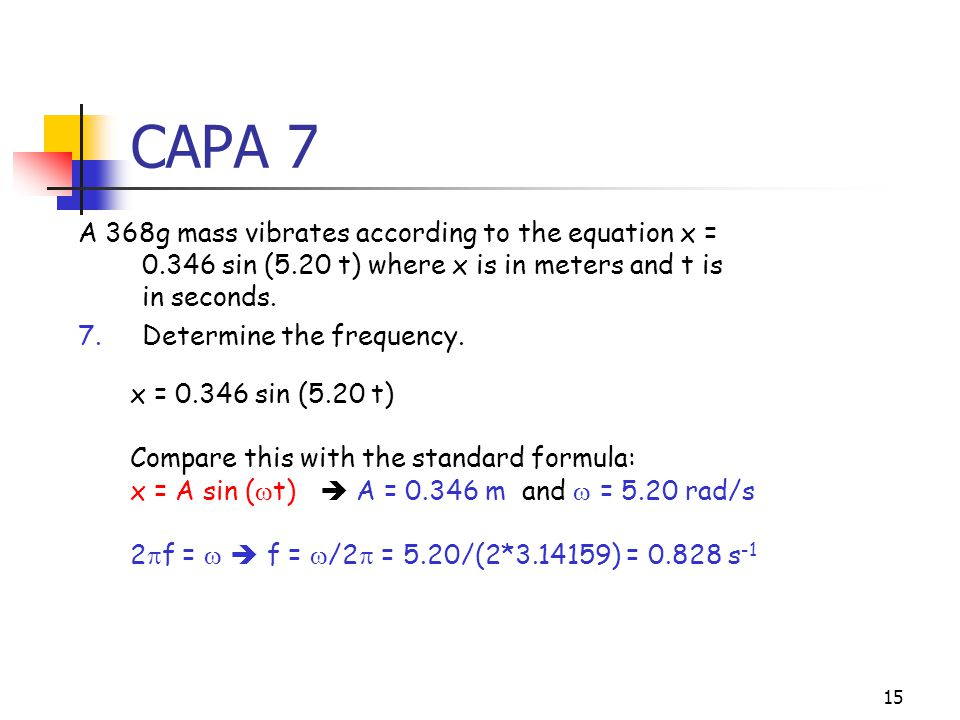 14 CAPA 6 6.A 368g mass vibrates according to the equation x = 0.346 sin (5.20 t) where x is in meters and t is in seconds.