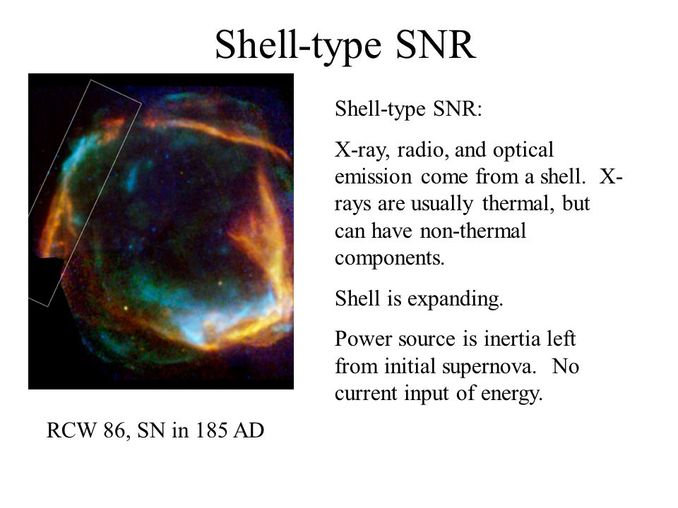 Shell-type SNR Shell-type SNR: X-ray, radio, and optical emission come from a shell.