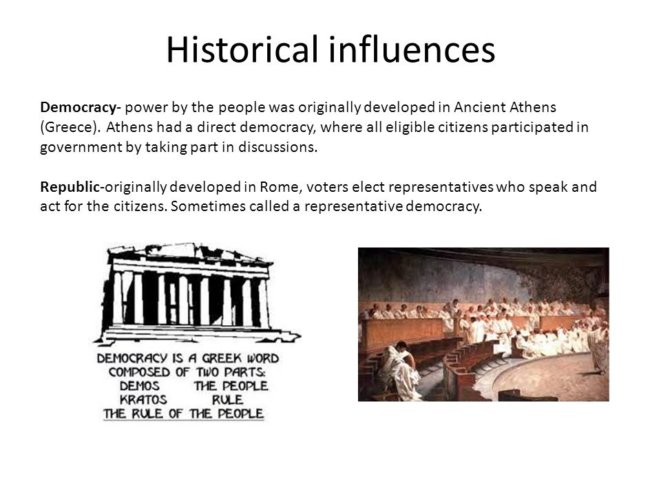 Historical influences Democracy- power by the people was originally developed in Ancient Athens (Greece). Athens had a direct democracy, where all eli
