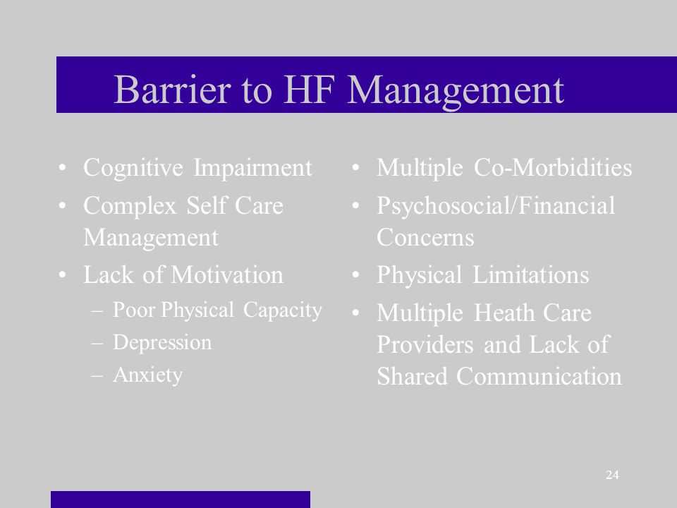 24 Barrier to HF Management Cognitive Impairment Complex Self Care Management Lack of Motivation –Poor Physical Capacity –Depression –Anxiety Multiple Co-Morbidities Psychosocial/Financial Concerns Physical Limitations Multiple Heath Care Providers and Lack of Shared Communication