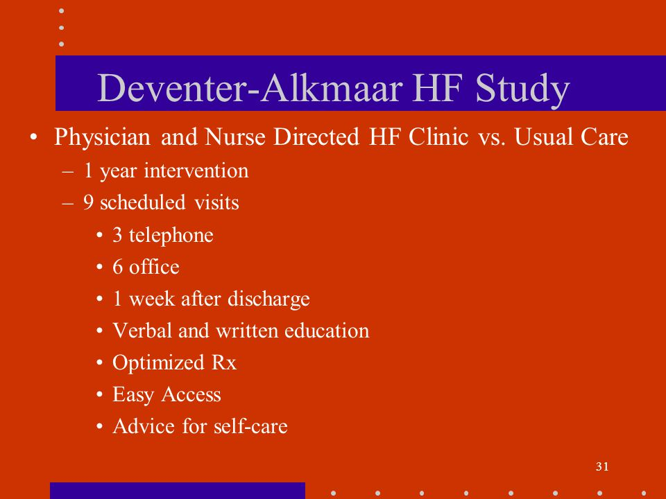 31 Deventer-Alkmaar HF Study Physician and Nurse Directed HF Clinic vs.