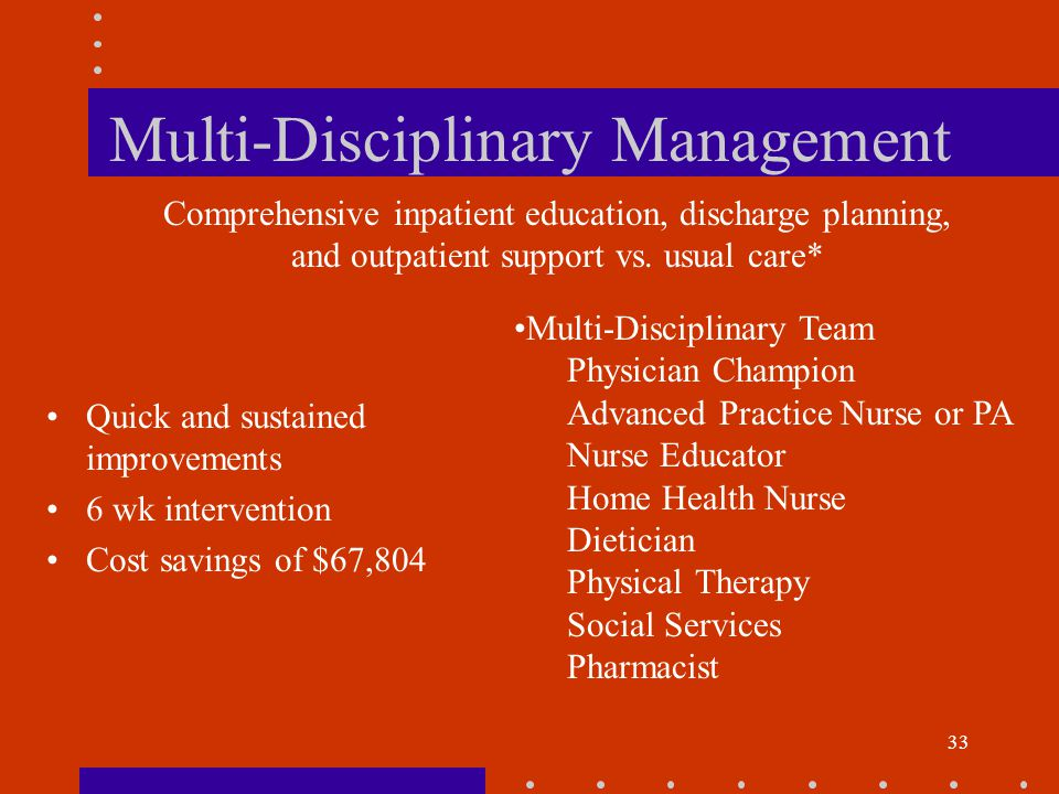 33 Multi-Disciplinary Management Quick and sustained improvements 6 wk intervention Cost savings of $67,804 Comprehensive inpatient education, discharge planning, and outpatient support vs.
