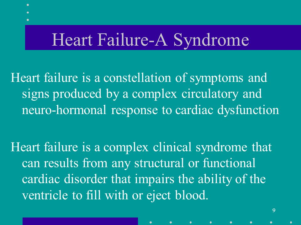 30 Self-Management of HF AND Notify health care provider of signs and symptoms of worsening heart failure –pain in jaw, neck, or chest –increased SOB –increased fatigue –dizziness of syncope –swelling in feet, ankles, legs, or abdomen –palpitations –tachycardia –weight gain –decreased exercise capacity