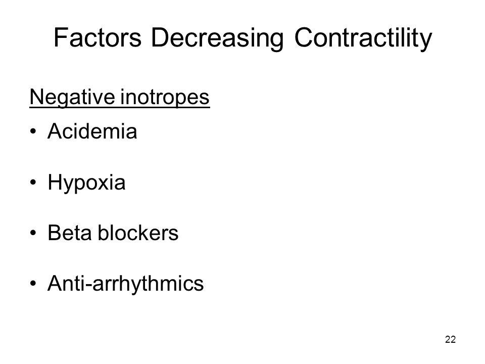 22 Factors Decreasing Contractility Negative inotropes Acidemia Hypoxia Beta blockers Anti-arrhythmics