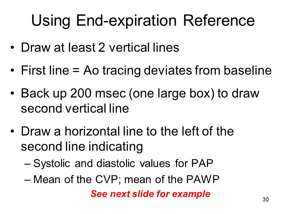 30 Using End-expiration Reference Draw at least 2 vertical lines First line = Ao tracing deviates from baseline Back up 200 msec (one large box) to draw second vertical line Draw a horizontal line to the left of the second line indicating –Systolic and diastolic values for PAP –Mean of the CVP; mean of the PAWP See next slide for example