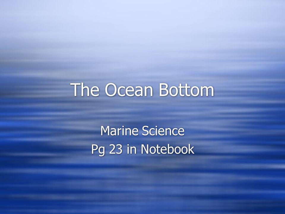 The Ocean Bottom Marine Science Pg 23 in Notebook Marine Science Pg 23 in Notebook