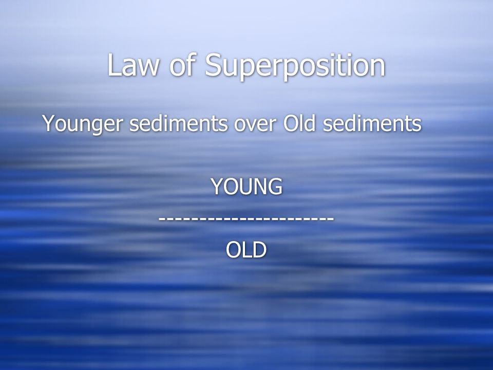 Law of Superposition Younger sediments over Old sediments YOUNG ---------------------- OLD Younger sediments over Old sediments YOUNG ---------------------- OLD