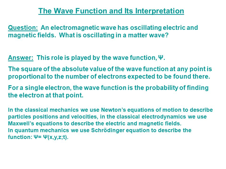 The Wave Function and the Double-Slit Experiment Example: the interference pattern is observed after many electrons have gone through the slits.