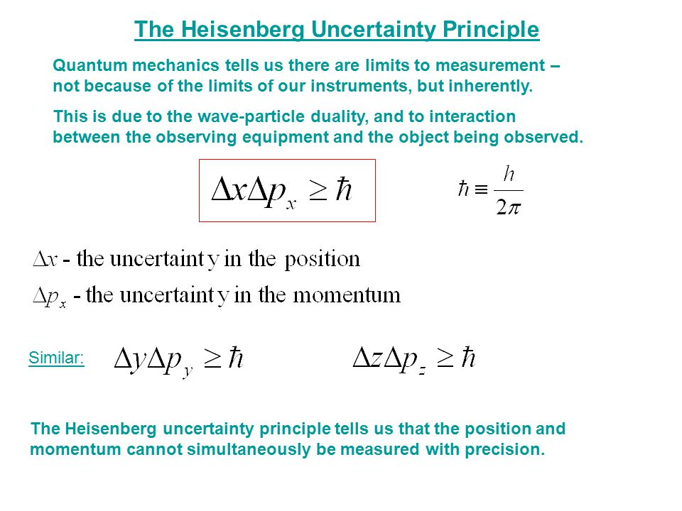 The Heisenberg Uncertainty Principle Quantum mechanics tells us there are limits to measurement – not because of the limits of our instruments, but in